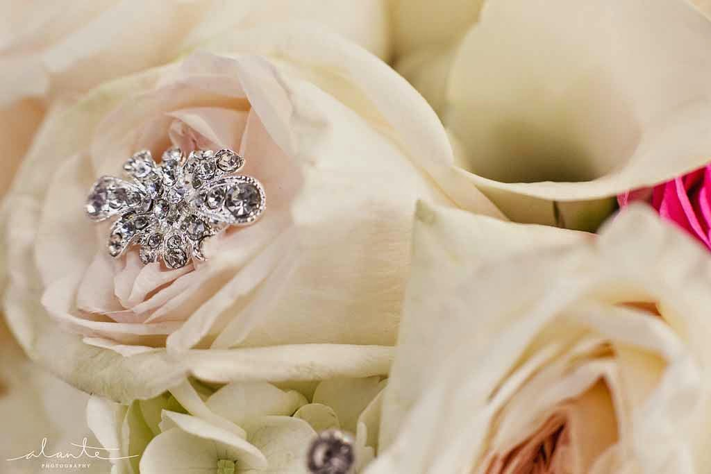 Four Seasons Hotel Seattle wedding, wedding bouquet, bridal bouquet with rhinestones