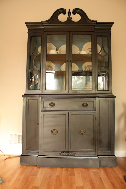 Fearfully wonderfully made living room updates spray painted china cabinet makeover for China cabinet in living room