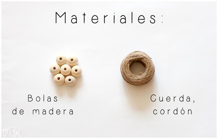 materiales diy salvamanteles con bolas de madera
