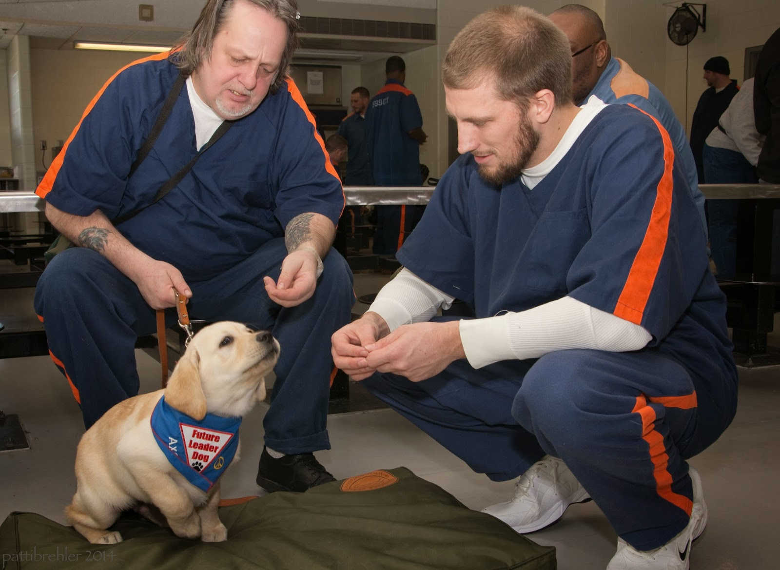 Two men, and a thrid one blocked mostly from view behind them, sit and squat with a small yellow lab puppy. The puppy is getting up from lying down on a green dog bed. He is wearing a blue bandana with a white triangle patch with the words Future Leater Dog and a black paw print. Hi is sniffing the air toward the men's hands. The men are wearing the blue prison uniforms with orange stripes on the arms and legs. The man on the left is holding the leash with his right hand. His elbows are on his knees (he is sitting on metal seat attached to a lunch talbe) and his left hand is near the puppy's head. He is holding a bit of kibble in his left hand. The man on the right is squatting with his elbows on his thighs. His hands are togehter in front of the puppy's face and he also has kibble in them.