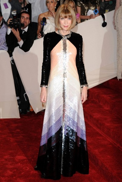 Anna Wintour in a fully sequined Chanel gown at the 2011 Met Ball.