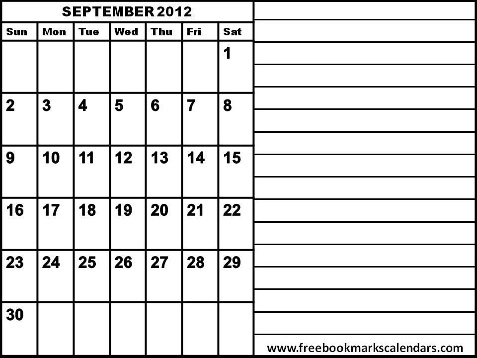 Blank September 2013 Calendar Printable