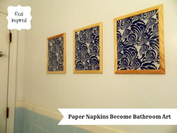 Real Inspired Paper Napkins Become Bathroom Art