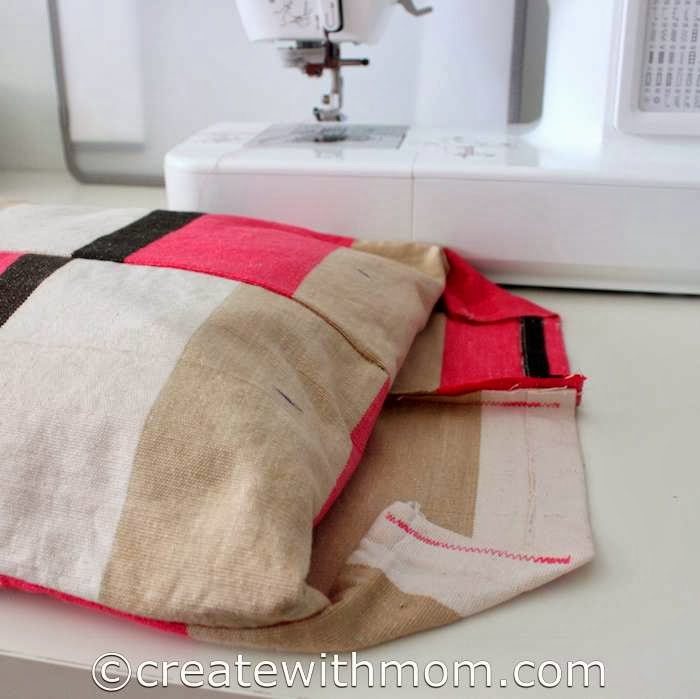Create with mom how to stitch a rectangle cushion cover for How to cover sofa cushion without sewing