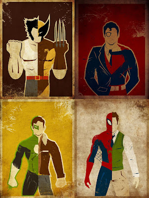 "Superhero Secret Identity Prints by Danny Haas - ""Logan"" (Wolverine), ""Kent"" (Superman), ""Jordan"" (Green Lantern) & ""Parker"" (Spider-Man)"