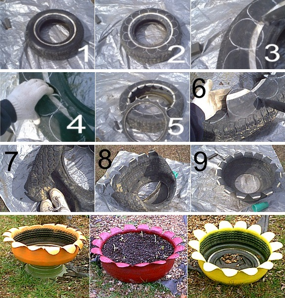 1000 images about garden style on pinterest - Planters made from old tires ...