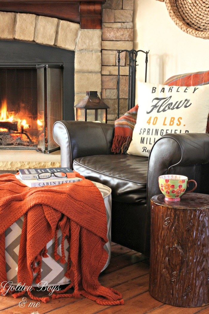 Brown leather chair by fireplace with H&M throw pillow - www.goldenboysandme.com
