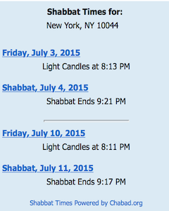 ROOSEVELT ISLAND SHABBAT CANDLE LIGHTING TIMES