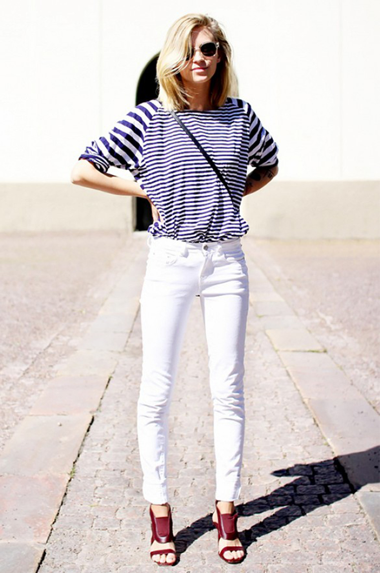 Tine Andrea of the Fashion Eaters, white denim, striped shirt