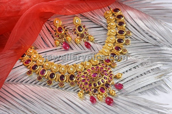 pondicherry sri lakshmi jewellery ruby kundan necklace collection