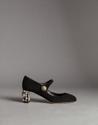 black low block heeled mary jane shoes with embellishments