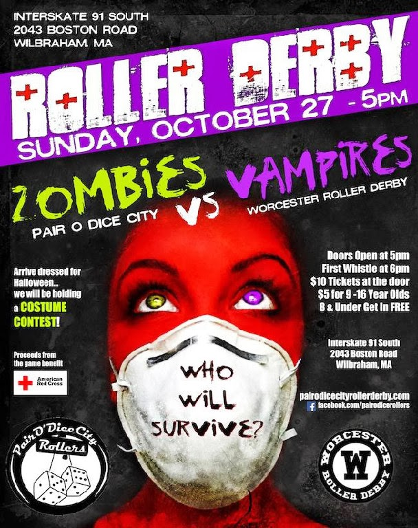 zombies vs. Vampires Roller derby game -  Springfield Pair O Dice City against Worcester roller derby