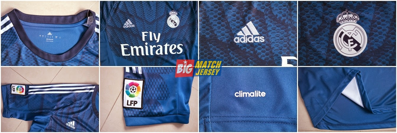 Detail Jersey Go Real Madrid Goalkeeper Home Official 2014 - 2015 Blue Motif Jaring Spiderman