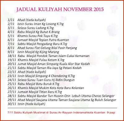 Jadual Kuliah Ustaz Azhar Idrus Bulan SEPTEMBER 2015