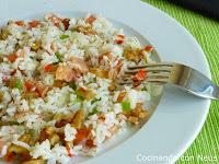 Ensalada de arroz basmati con salmón ahumado