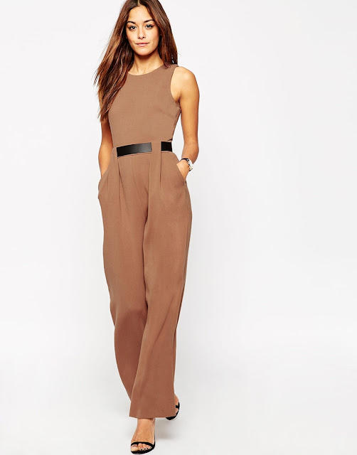 brown jumpsuit with belt, sleeveless brown jumpsuit,