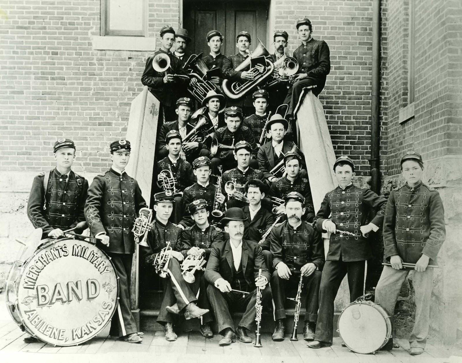 Kansas dickinson county abilene - Abilene Merchants Military Band In 1896