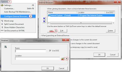 Как в HomeSite 5.5 добавить браузер для View External Browser List?
