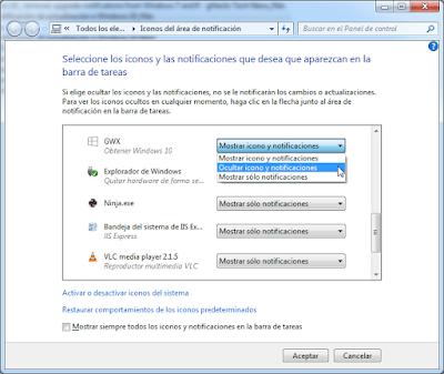 Ocultar icono Obtener Windows 10