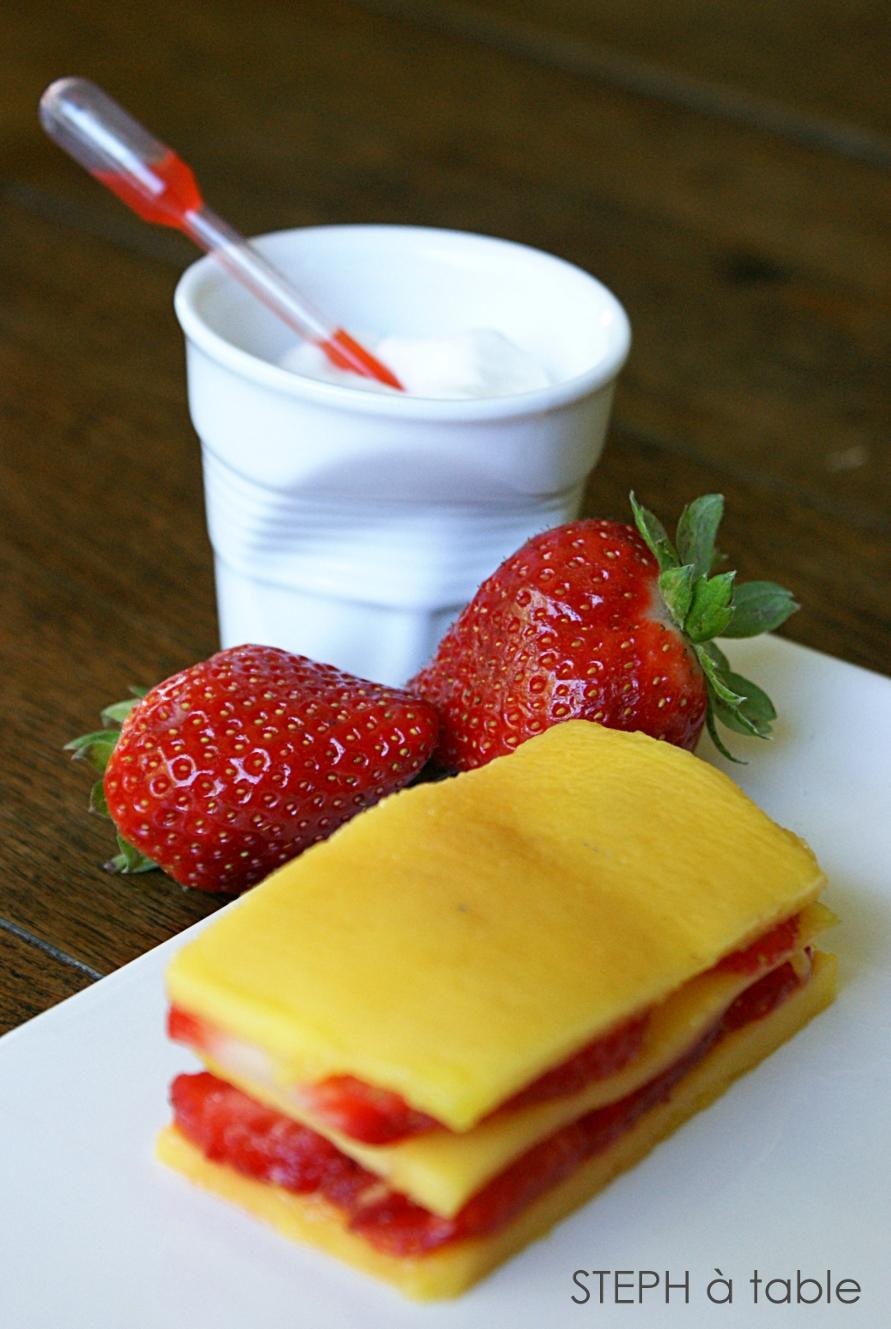 carapaccio de mangue et fraises mousse coco citron vert stephatable