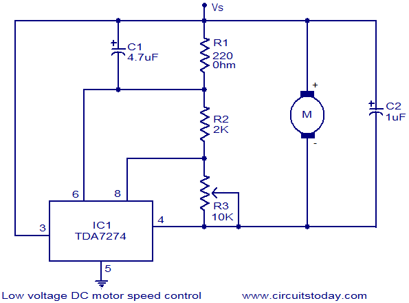 Dc Motor Speed Control Low Voltage Circuit Electronic