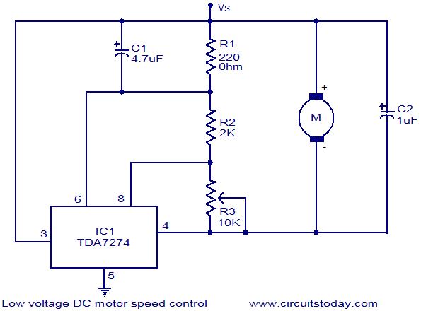 Dc motor speed control low voltage circuit electronic for Electric motor speed control
