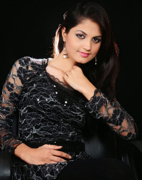 Madhulika In Black Colour Dress