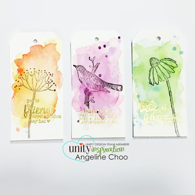 Unity Stamp Company: DT Tuesday with Angeline - watercolored tags #unitystampco #scrappyscrappy #gansaitambi #watercolor #tags #stamp