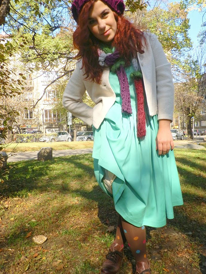 Personal style outfit featuring handmade mint full-skirt dress, hand-knitted violet scarf and hat, combat boots, polka dot tights, vintage white crop jacket and green leather purse. Make up by sleek vintage romance palette and antique blush