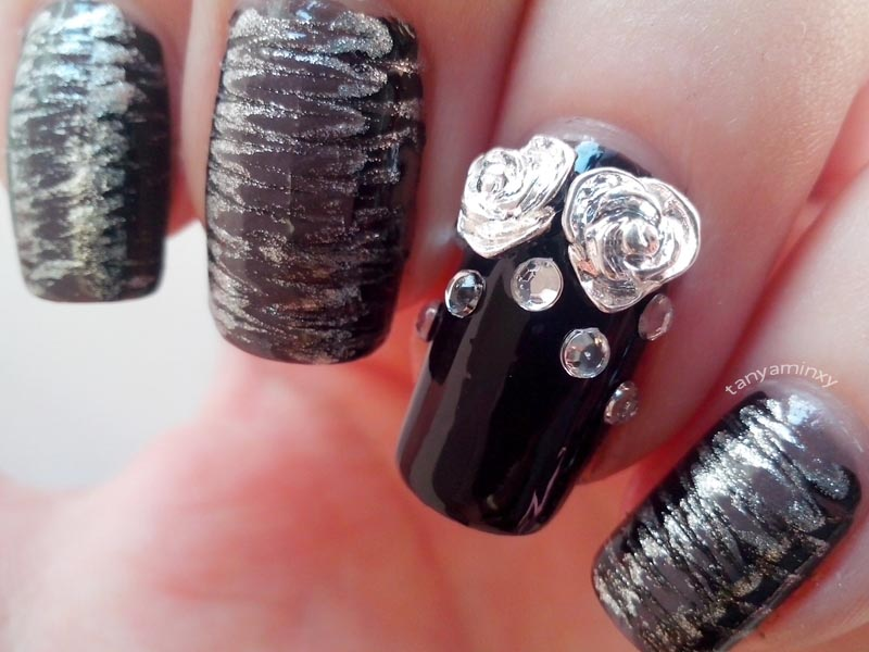 Matching Manicures Dry Marble Nails Nail Art Nail Design Metal Roses Studs BPS Rhinestones