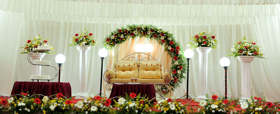Shamiana creations event management reception stage for 7 events flower decorations