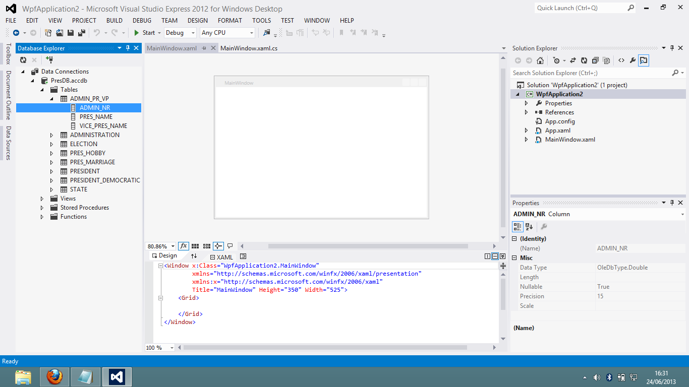 how to connect access database in visual studio 2012