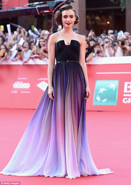 Lily Collins in Elie Saab Couture for the 'Love, Rosie' Rome Film Festival Premiere