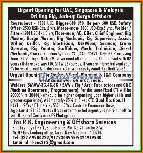 Urgent job opening for UAE, Malaysia, Singapore offshore ...