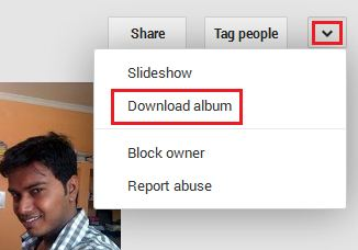 Download Album From Google plus