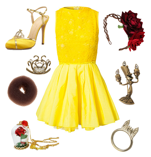 beauty and the beast look, bell. yellow dress, yellow heels with a tiara on the front, bun, bun crown, red rose necklace, rose i a glass, red rose fascinator, candle brooch, castle ring