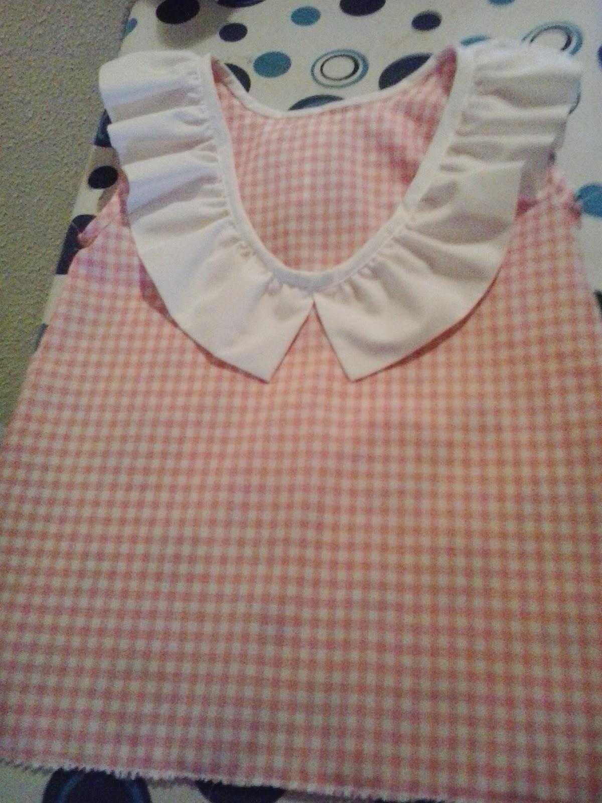 blusa niña en vichy rosa y blanco