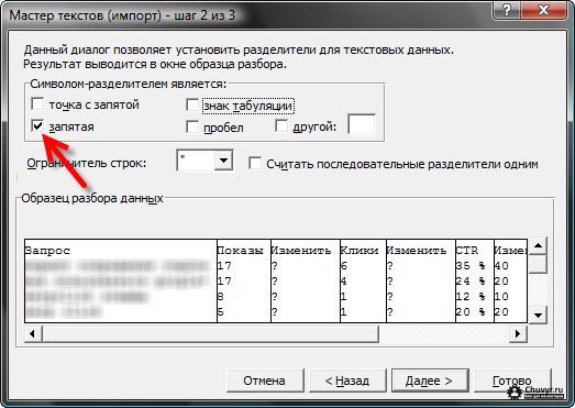 выбор символа-разделителя и символа ограничителя строк в мастере текстов MS Excel