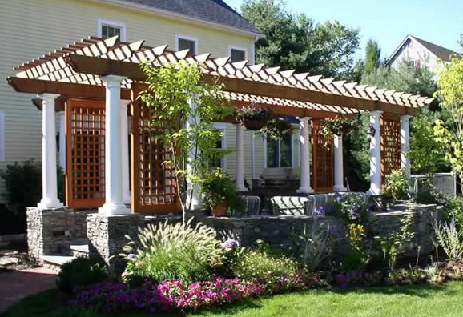Pergolas design  Pergola plans attached to houseusing creative pergola ideas  you can add visual interest to the space  You can sit and relax under the shaded area  This structure can also be used to