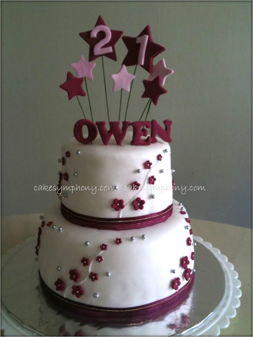 CakeSymphony Twotier 21st Birthday Cake