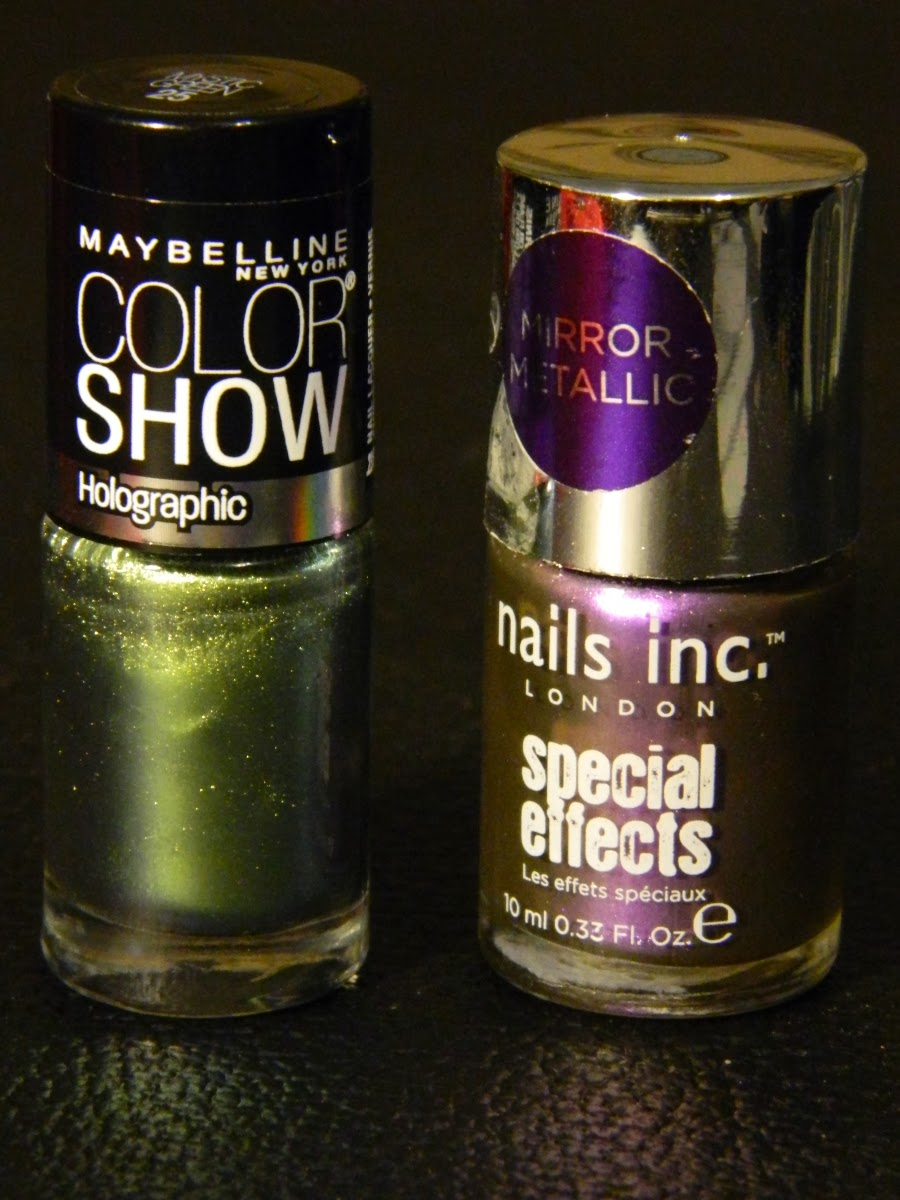 Holographic Nail Polish - Maybelline Color Show in 25 Mystic Green and Nails Inc. Special Effects in 162 Cheyne Walk