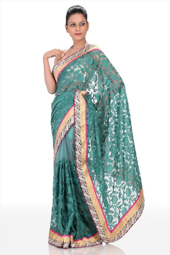 Bottle Green Net Saree