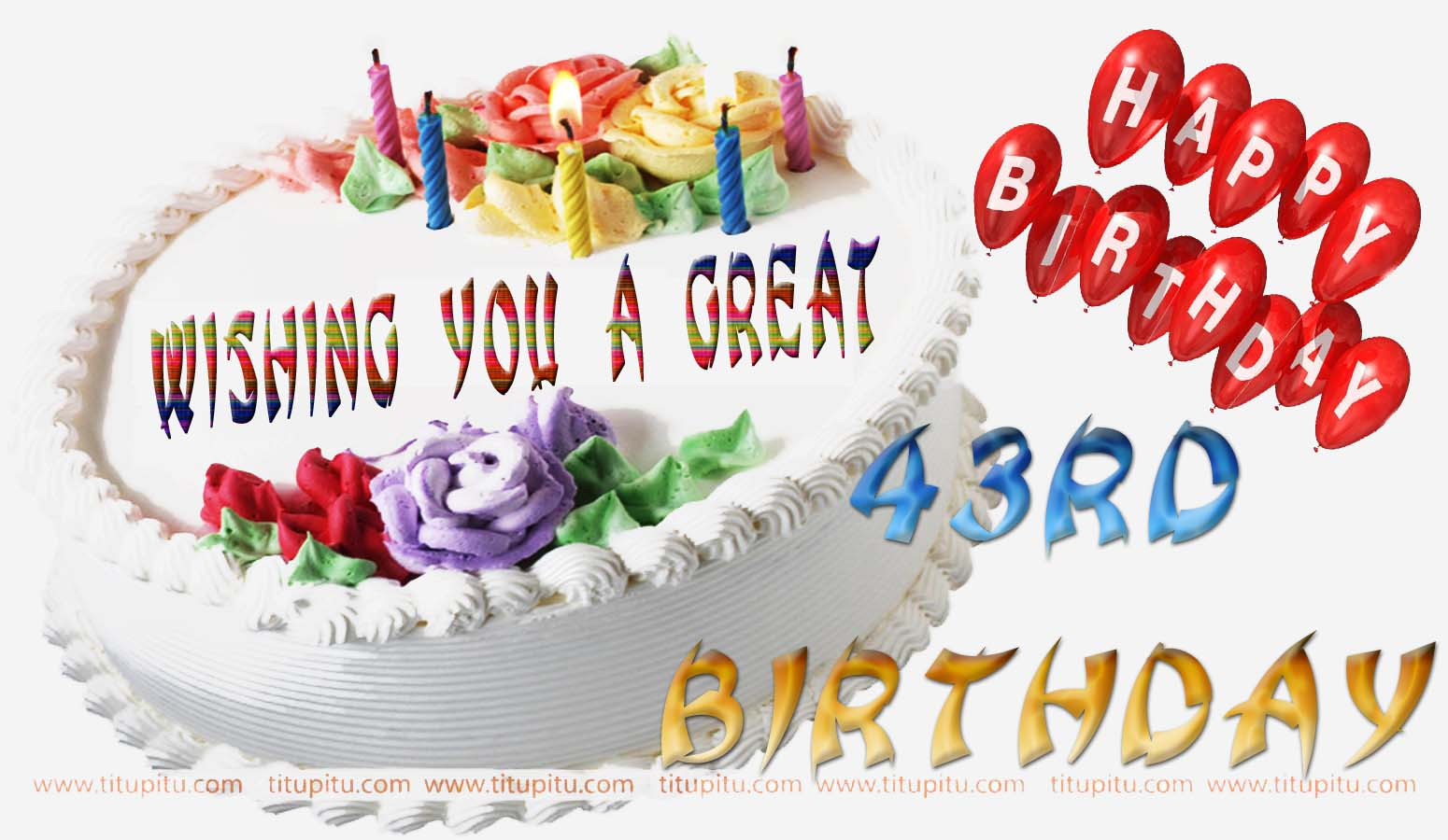 Birthday Cake Images And Msg : 43rd birthday wishes message and wallpaper for everyone ...