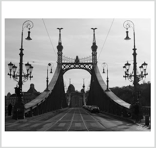 budapest bridges, abridged, laura hol art, budapest art prints, symmetrical bridge photos,