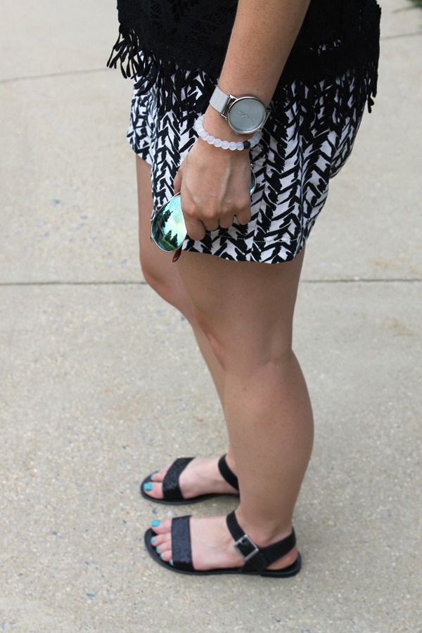 Target crocheted top, Target black top, black crocheted top, bucket bag, patterened shorts, black and white, outfit, summer outfit, black sandals, target black sandals, live lokai, lokai, Timex, timex watch, silver