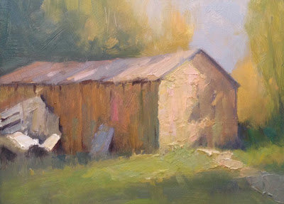 An original oil landscape painting of an old shed on Cape Cod by artist Steve Allrich