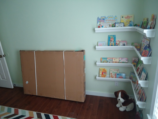 Nursery with rain gutter bookshelves