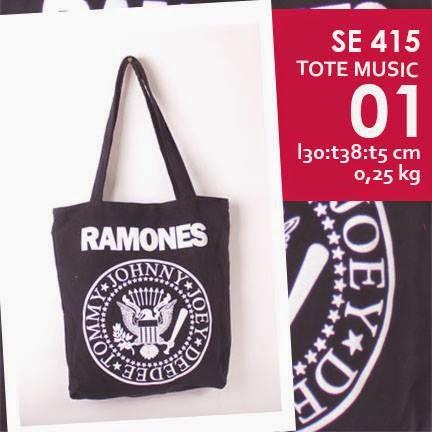 jual online tote bag kanvas murah tema musik logo grup band ramones