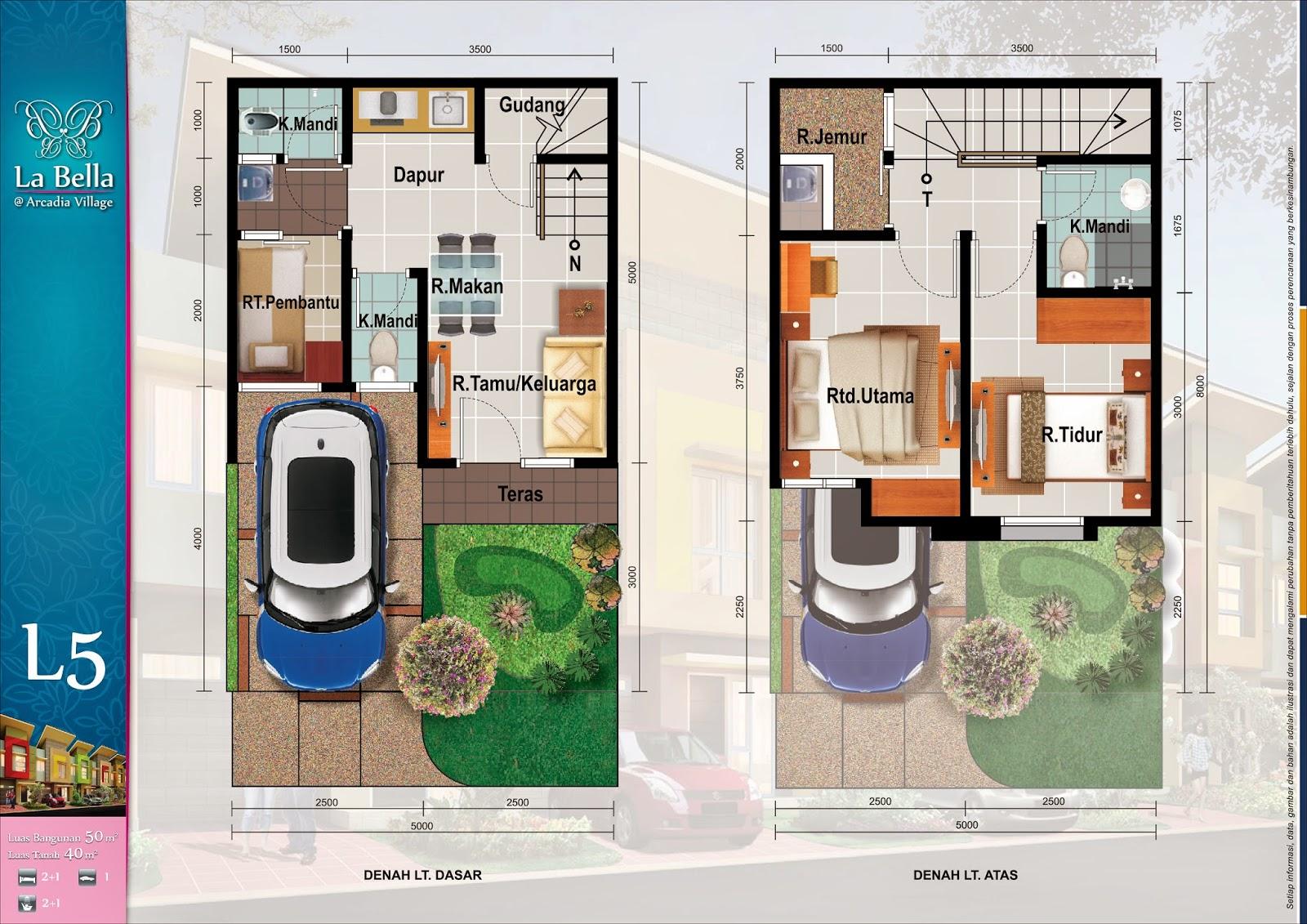 Denah Dijual Rumah Baru Paramount Gading Serpong La Bella Arcadia Village