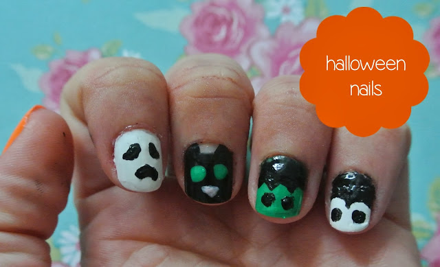 cat ghost dracula frankenstein nail art